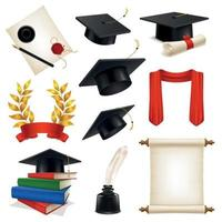 ilustração vetorial conjunto realista pós-graduação vetor