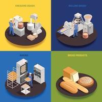 ilustração em vetor conceito isométrico de confeitaria de padaria