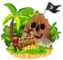 Pirata e crianças na ilha vetor