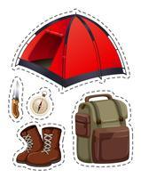 Camping conjunto com tenda e outros objetos vetor