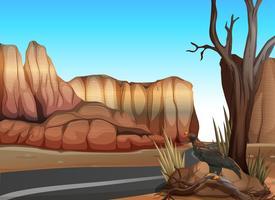 Estrada vazia no deserto ocidental vetor