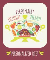 Ilustração em vetor de dieta personalizada.