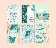 Conjunto de cartões criativos abstratos de primavera. Cores frescas.