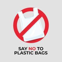 diga não ao sinal de sacolas plásticas. vetor