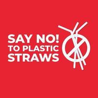 diga não ao ícone de canudos de plástico, pare a poluição de plástico no mar. vetor