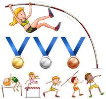 Medalhas esportivas e diferentes tipos de esportes de atletismo