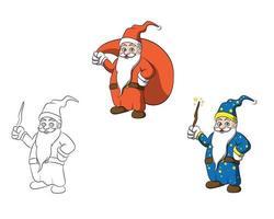 Personagem de desenho animado alegre feiticeiro e papai noel vetor