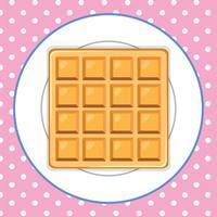 Waffle na placa fundo rosa vetor
