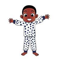 Bom dia, personagem de desenho animado de menino negro vetor