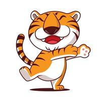 desenho animado bonito tigre com sorriso mostrando abraçar a mão no espaço vazio. vetor
