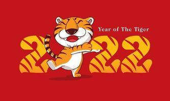 feliz ano novo 2022. desenho animado bonito tigre com um sorriso abraçando o número vetor