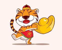 desenho animado bonito usa chapéu e barriga segurando um grande mandarim tangerina vetor