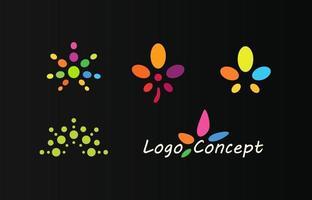 ícones de cor de cânhamo, conjunto de logotipo. modelo de emblema de maconha. vetor
