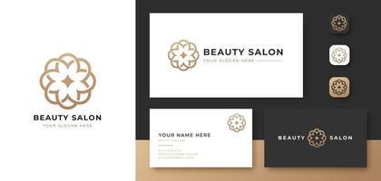 salão de beleza com logotipo de flor de ouro abstrato vetor