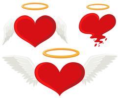 Coração com asas de anjo vetor
