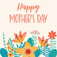 Feliz Dia das Mães. Ilustração vetorial com flores.