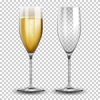 Conjunto de taças de champanhe vetor
