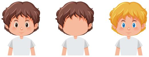 Conjunto de menino com cor de cabelo diferente vetor