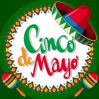 Cinco de Mayo com chapéu mexicano e maracas vetor