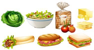 Conjunto de diferentes tipos de comida vetor