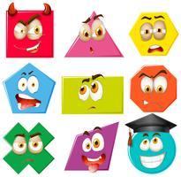 Diferentes formas com expressões faciais vetor