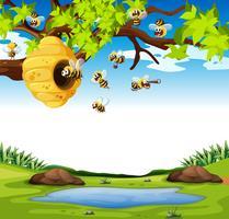 Abelhas voando no jardim vetor