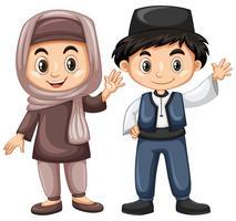 Menino turco, e, menina, em, traje tradicional vetor