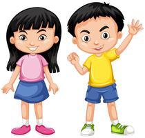 Rapaz asiático e menina com cara feliz vetor