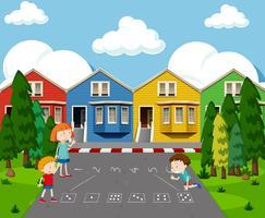 Crianças desenho número jogo na rua vetor