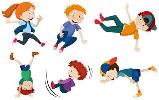 Crianças de dança de rua em fundo branco vetor