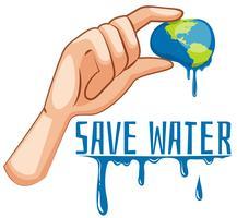 Salve o sinal de água com a terra sendo espremida vetor
