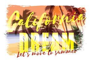 Verão de praia tropical impressão com slogan
