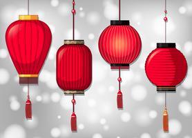 Lanternas chinesas em quatro modelos vetor