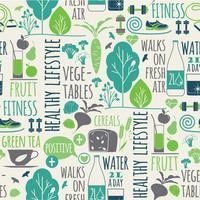 Fundo sem emenda de estilo de vida saudável vetor