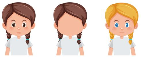 Conjunto de tranças cabelo personagem cor diferente vetor
