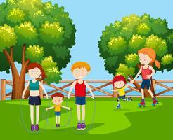 Férias em família no parque vetor