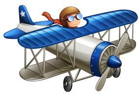 Piloto pilotando o avião vetor