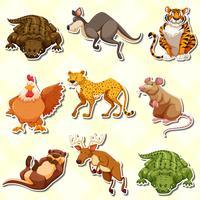 Adesivo definido com muitos animais vetor
