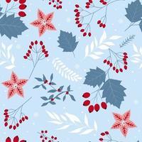elementos florais fofos de férias de natal sem costura, flores, folhas vetor