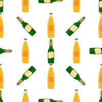 ilustração em garrafas de cerveja sem costura com tampa para cervejaria vetor