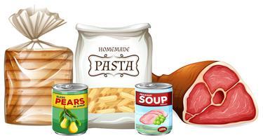 Conjunto de diferentes alimentos vetor