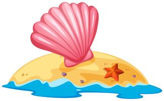 Concha-de-rosa na ilha vetor