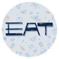 adesivo com a palavra comer e macarrão. ilustração vetorial em estilo simples vetor