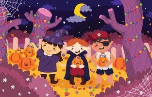três crianças travessuras ou travessuras na noite de halloween vetor