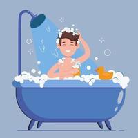homem lava no banheiro com pato de borracha. ele tomando banho vetor