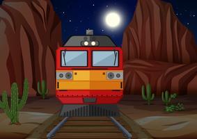 Treinar na ferrovia no período nocturno vetor