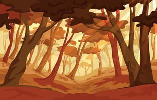 fundo de cenário de floresta de outono vetor