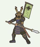 guerreiro samurai ou lutador ronin japonês com lança vetor