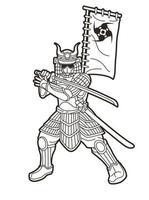 guerreiro samurai ou ronin com armadura e arma vetor