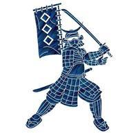 guerreiro samurai ou lutador ronin japonês com armadura e arma vetor